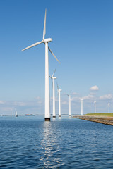 Wind turbines along Dutch coast near Urk