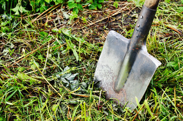 old shovel stuck in the ground
