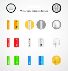 Vector battery and LEDs icons set 2