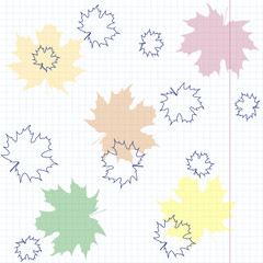 Multicolored maple leaves on a sheet of exercise book.