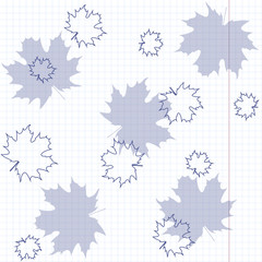 Maple leaves on a sheet of exercise book.