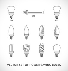 Vector set of power-saving bulbs