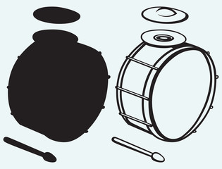 Drums isolated on blue background