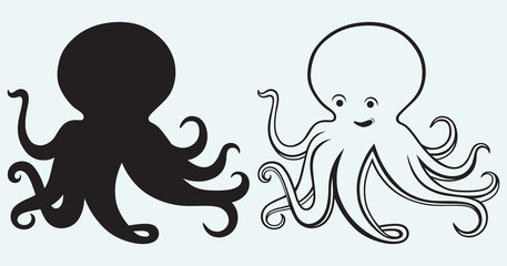 Cartoon octopus isolated on blue background