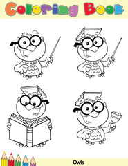 Coloring Book Page Teacher Owl Cartoon Character
