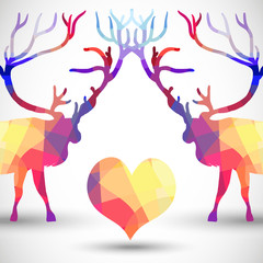 Silhouette a deer of geometric shapes with heart