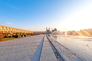 Early-evening view of Naqsh-e Jahan Square in Esfahan, Iran.