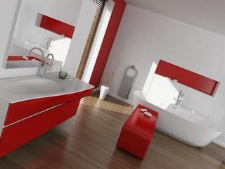 Modern luxury red and white bathroom interior