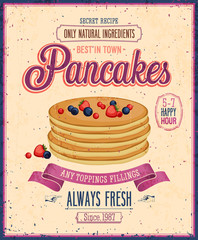 Wall Mural - Vintage Pancakes Poster. Vector illustration.