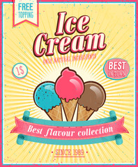 Wall Mural - Vintage Ice Cream Poster. Vector illustration.