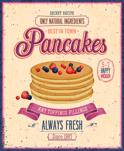 Wall mural Vintage Pancakes Poster. Vector illustration.