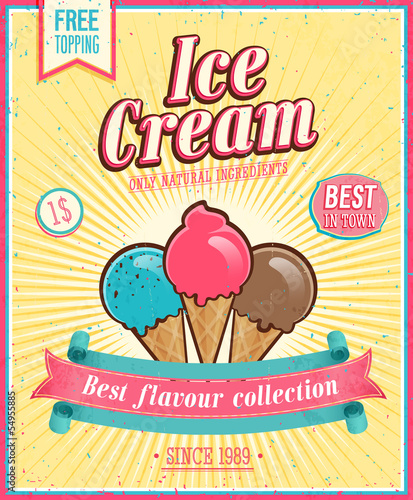Wall mural Vintage Ice Cream Poster. Vector illustration.