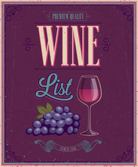 Wall Mural - Vintage Wine List Poster. Vector illustration.