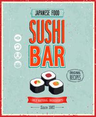 Wall Mural - Vintage Sushi Bar Poster. Vector illustration.