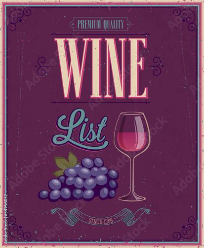 Wall mural Vintage Wine List Poster. Vector illustration.