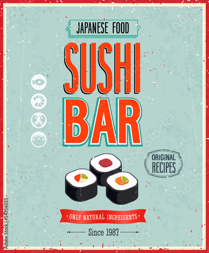Wall mural Vintage Sushi Bar Poster. Vector illustration.