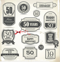 Anniversary retro badge and labels