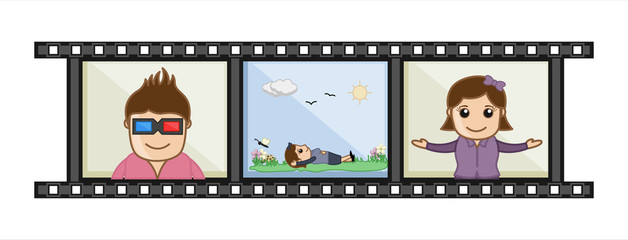 Movie Album Memories - Business Cartoons Vectors