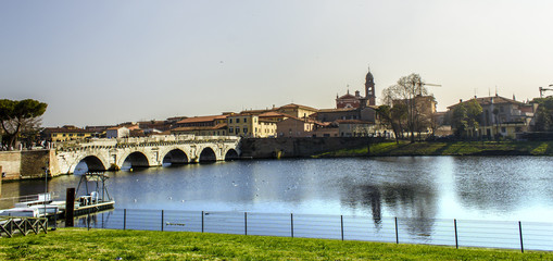 tiberius bridge rimini panorama italy