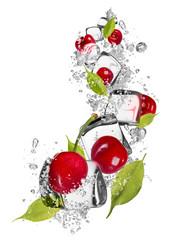 Deurstickers In het ijs Ice cherries on white background