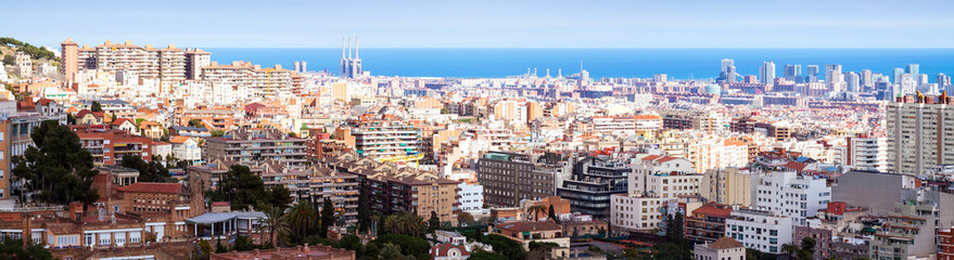 panoramic view of Barcelona in sunny