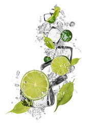 Poster Dans la glace Ice limes on white background