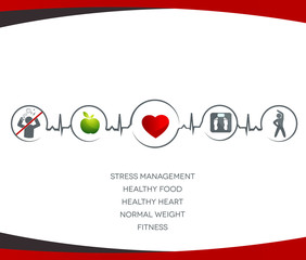 Healthy food, no stress,  normal weight,  fitness