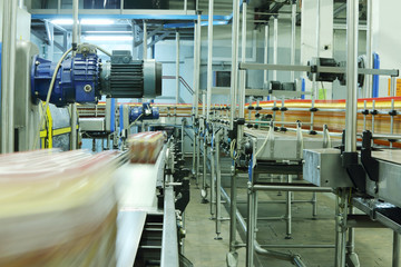 Bottles and cases with bottles go on conveyors