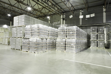 Lot of packaged beer in factory