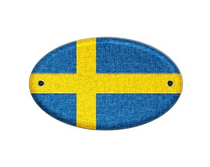 Wooden sign of Sweden.