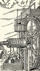 Water wheel powering a mine hoist ( De re metallica)