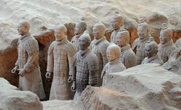 Terracotta army warriors in Xian, China