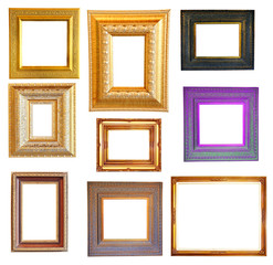 Set of gold classic wood frame