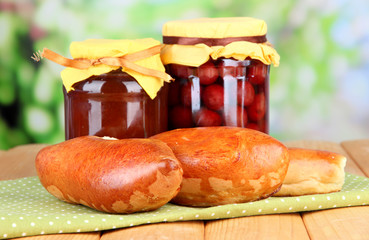 Fresh baked pasties with fruit jam,