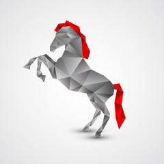 Poster Geometric animals Horse isolated on a white background