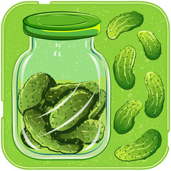 Canning. Pickled cucumbers in jar