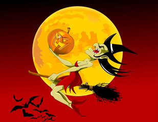 witch and pumpkin