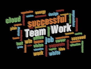 colorful teamwork wordcloud on dark background