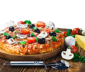 Appetizing pizza with mushrooms