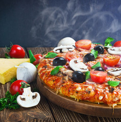 Italian pizza with mushrooms and cheese served