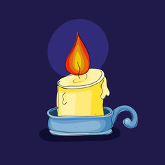 Cute vector candle in a candlestick