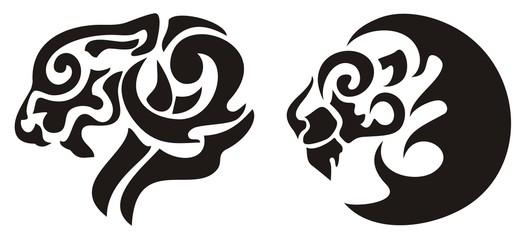 Tribal lion head tattoo, vector