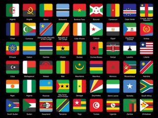 set of African flags icons over black