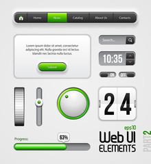 Web UI Elements Design Gray Green: Part 2