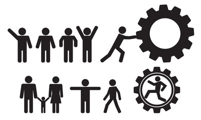 person and people vector icon set