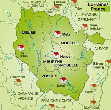 Umgebungskarte von Lothringen mit Grenzen in internetgrün