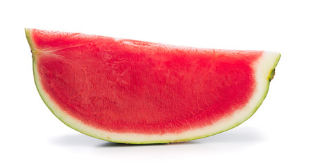 Slice of seedless watermelon isolated on white background