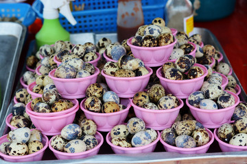 Fresh quail egg in bowl