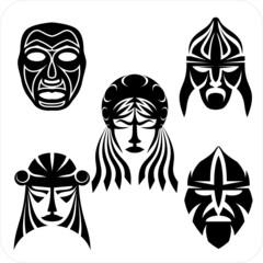 Tribal masks. Vector vinyl-ready illustration.