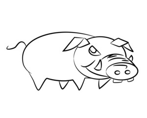 Sketch of a cartoon pig